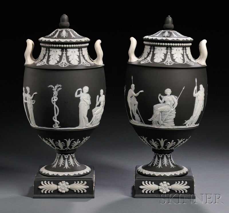 Pair of Wedgwood Solid Black Jasper Vases and Covers