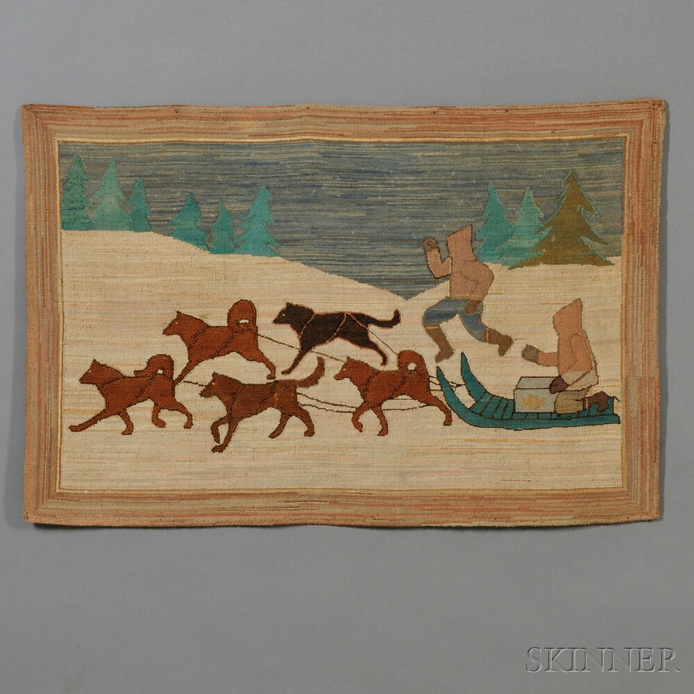 Dog Hooked Rugs: Grenfell Pictorial Hooked Rug With Dog Sled Scene