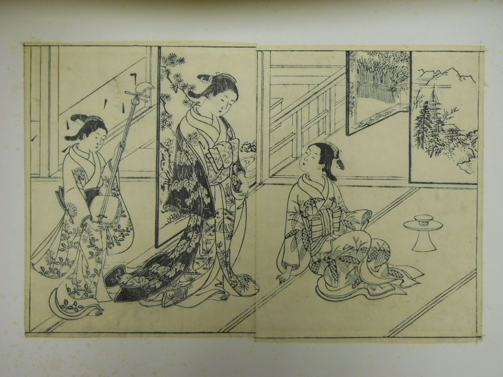 Six Mounted Monochrome Woodblock Print Pages