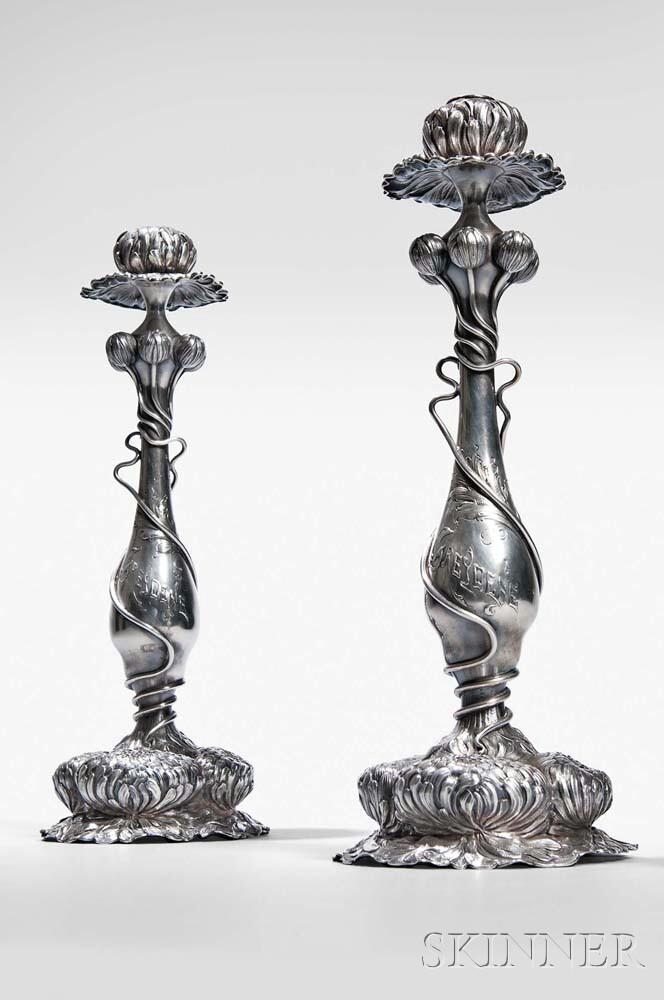 Pair of George Shiebler Art Nouveau Sterling Silver Candlesticks
