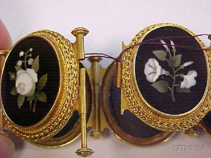 Antique 18kt Gold and Pietra Dura Bracelet