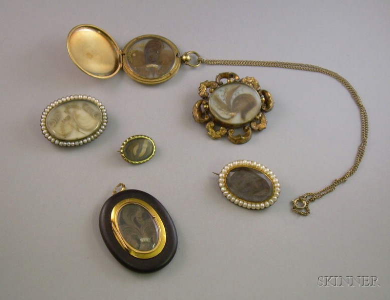 Six Pieces of Victorian Hair Embellished Mourning Jewelry