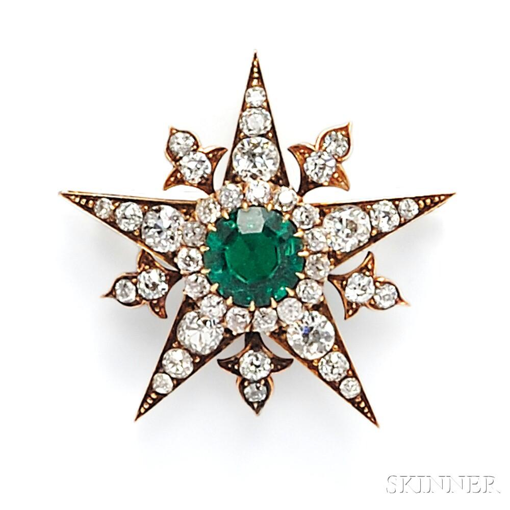 Antique Gold, Emerald, and Diamond Starburst Pendant/Brooch