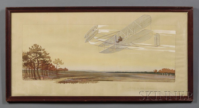 French Hand-colored Lithograph Depicting an Early Airplane Flight