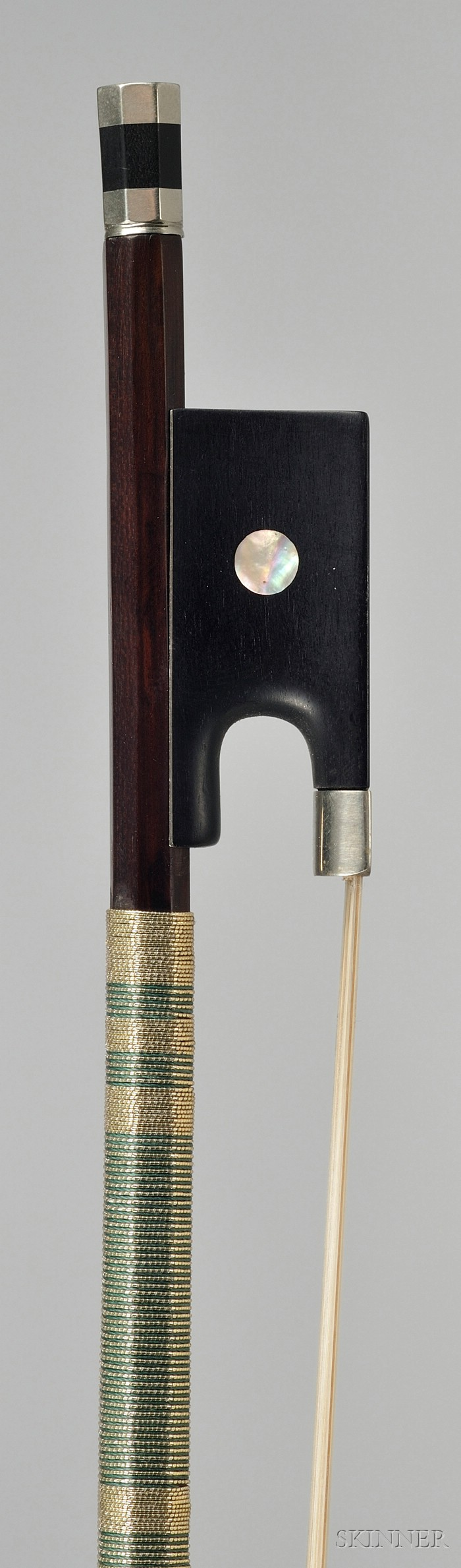 French Nickel Mounted Violin Bow, Francois Bazin