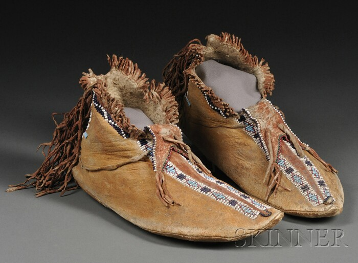 Apache Beaded Hide Man's Moccasins
