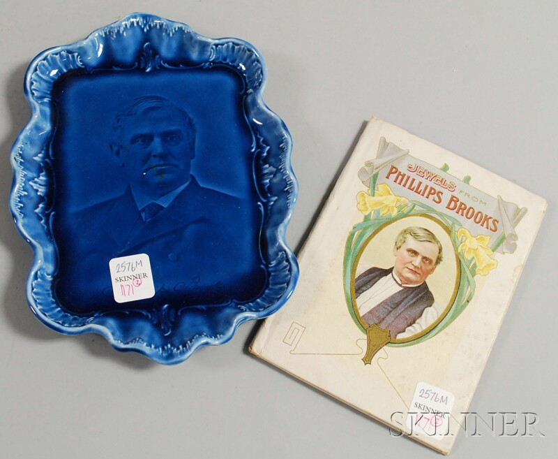 Phillips Brooks Blue Glazed Porcelain Portrait Dish and a Small Book   Jewels From Phillips Brooks.