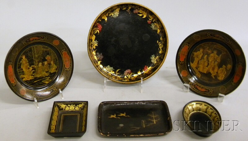 Six Small Gilt-decorated Black Lacquered Papier-mache Trays