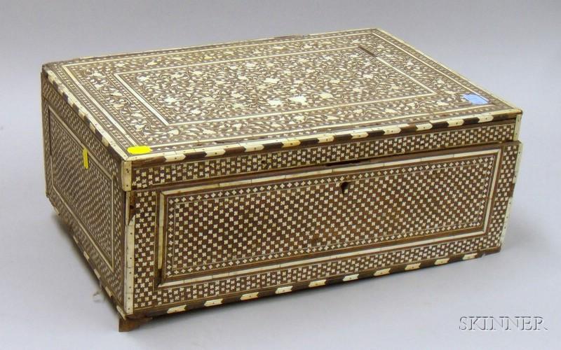 Persian Bone Inlaid Hardwood Travel Chest