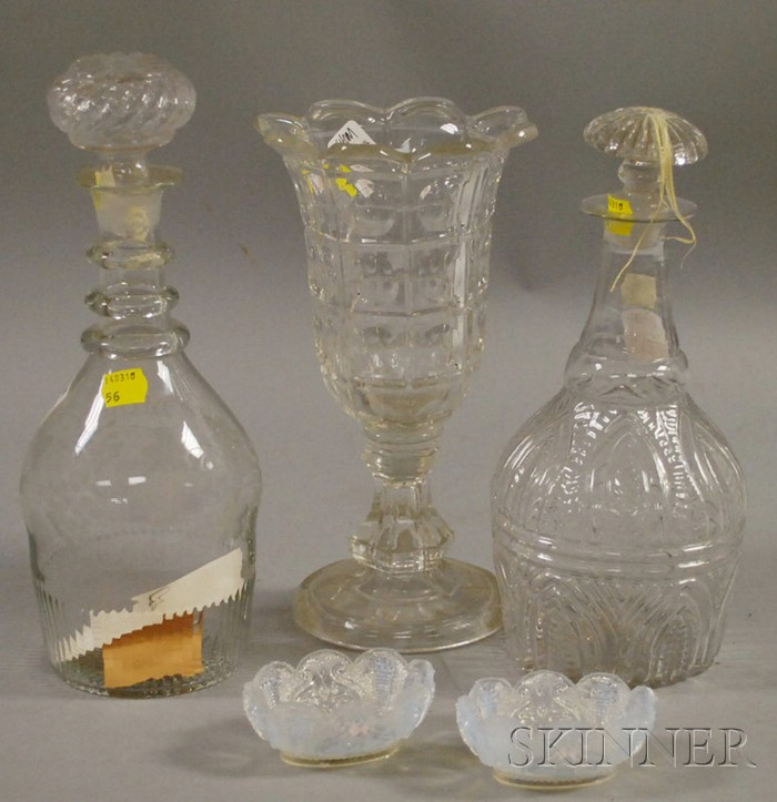 Colorless Pressed Pattern Glass Vase, Two Blown Molded Decanters, and a Pair of Sandwich Opalescent Lacy Glass Salts.