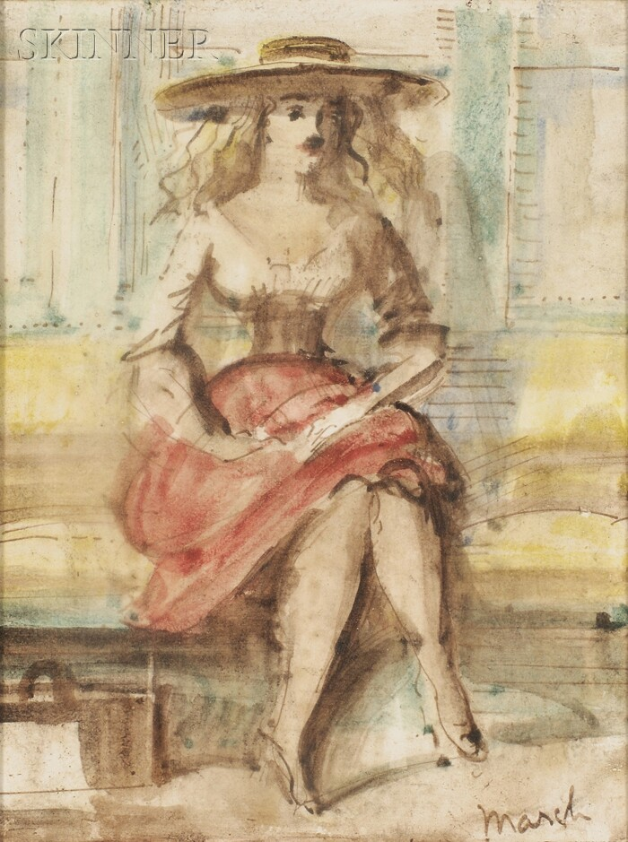 Reginald Marsh (American, 1898-1954)      Portrait of a Seated Woman/A Double-sided Composition