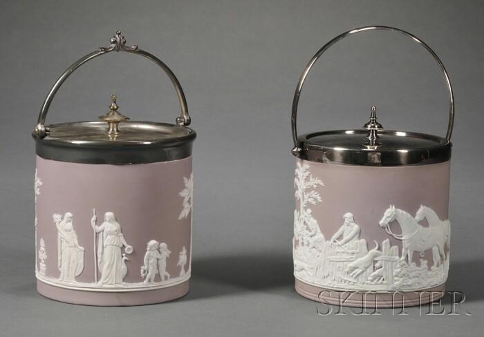 Two Wedgwood Lilac Jasper Dip Biscuit Jars