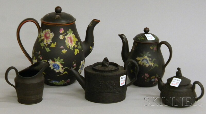 Five Wedgwood Black Basalt Items