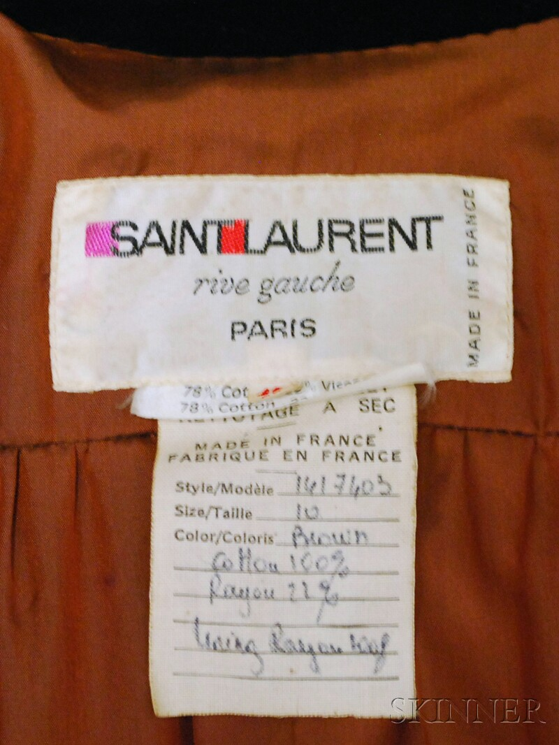 Yves Saint Laurent Rive Gauche Brown Velvet Evening Dress Coat