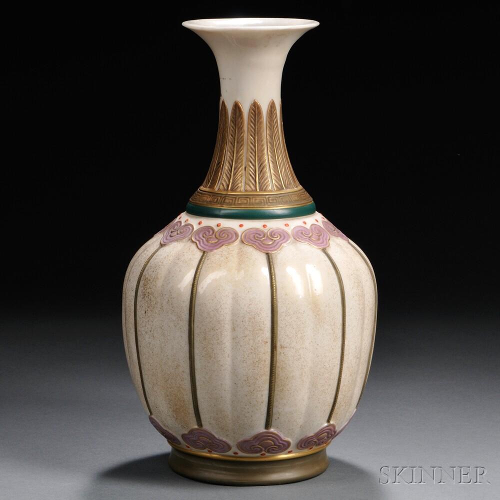 Royal Worcester Art Nouveau Lobed Vase