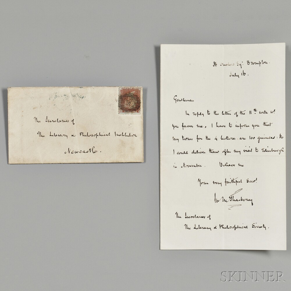 Thackeray, William Makepeace (1811-1863) Autograph Letter Signed, 16 July [1856], with Holograph Envelope.