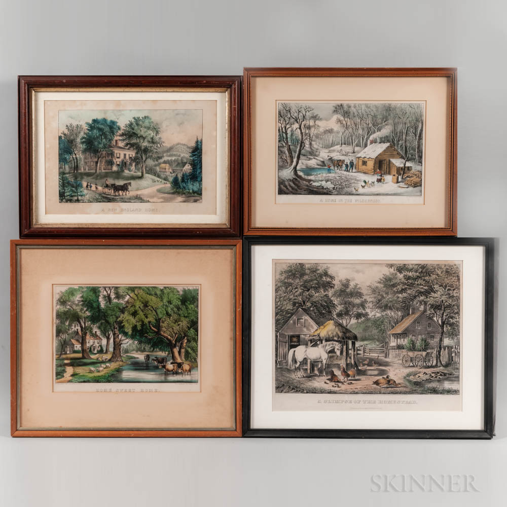 """Four Currier & Ives """"Home"""" Lithographs"""