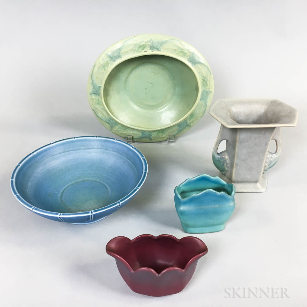 Five Roseville, Fulper, and Trenton Pottery Items