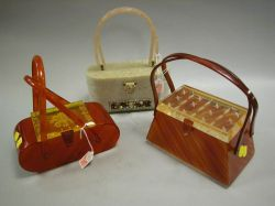 Rialto Jeweled Lucite Purse, Feiner Bags Lucite Purse and a Butterscotch Lucite Purse.