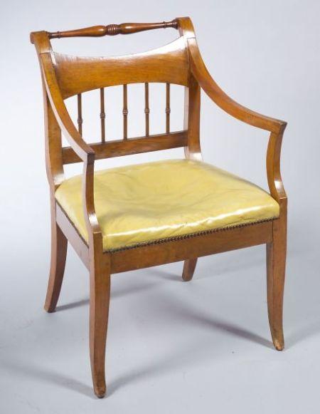 Italian Neoclassical Fruitwood Armchair