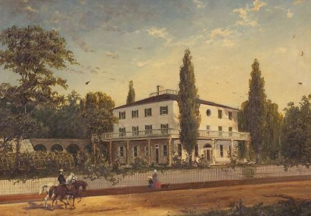 American School, 19th Century    Portrait of a Federal House with Figures.