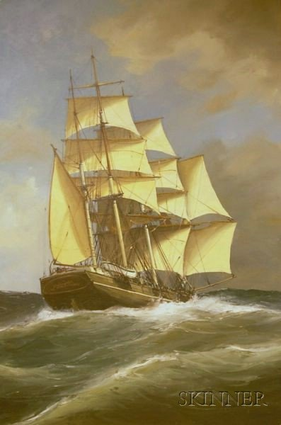 Framed Oil on Canvas Portrait of an American School Clipper Ship