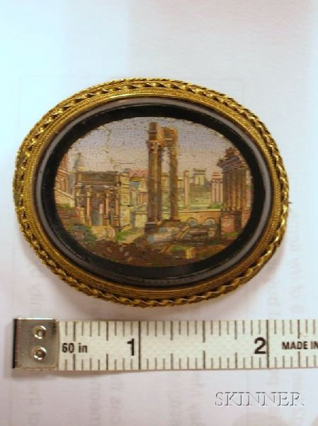 Three Pieces of Victorian Grand Tour Micromosaic Jewelry