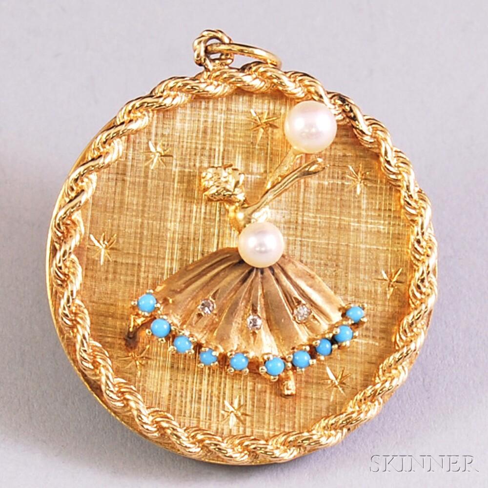 14kt Gold Ballerina Pendant