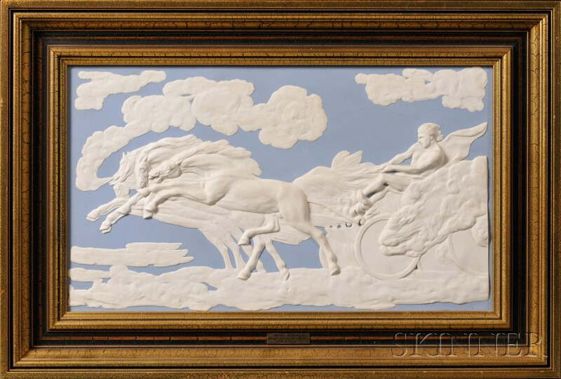 Modern Wedgwood Solid Blue Jasper The Fall of Phaeton   Plaque