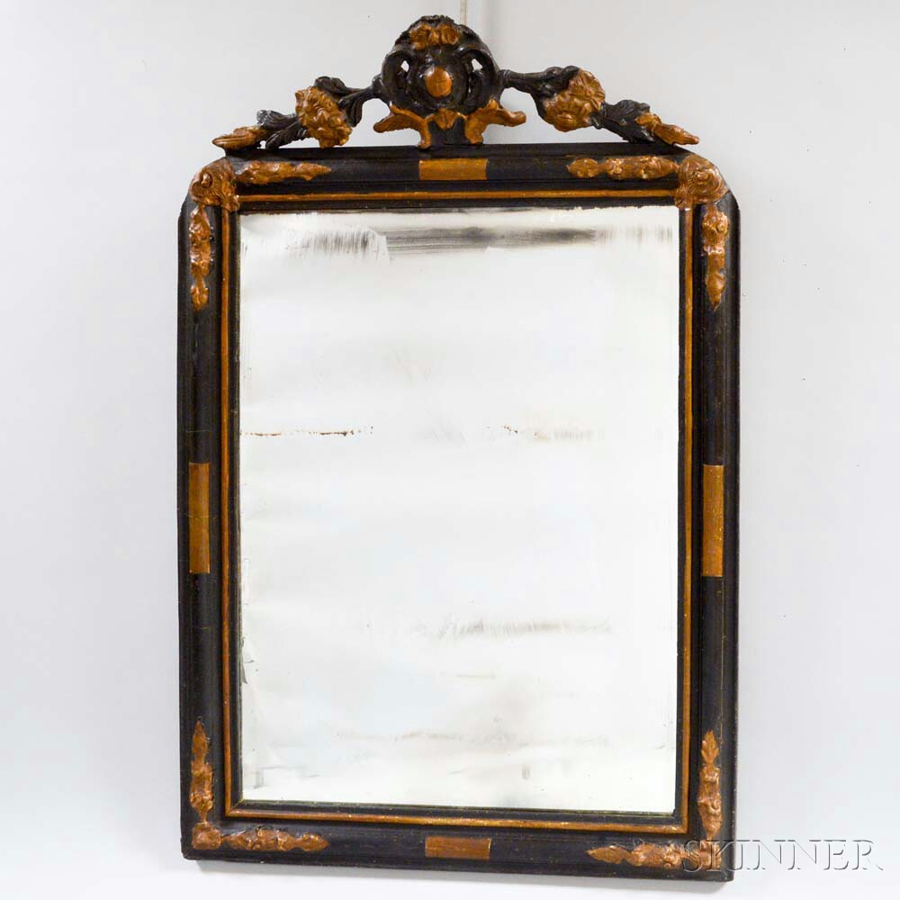 Rococo-style Carved and Lacquered Mirror