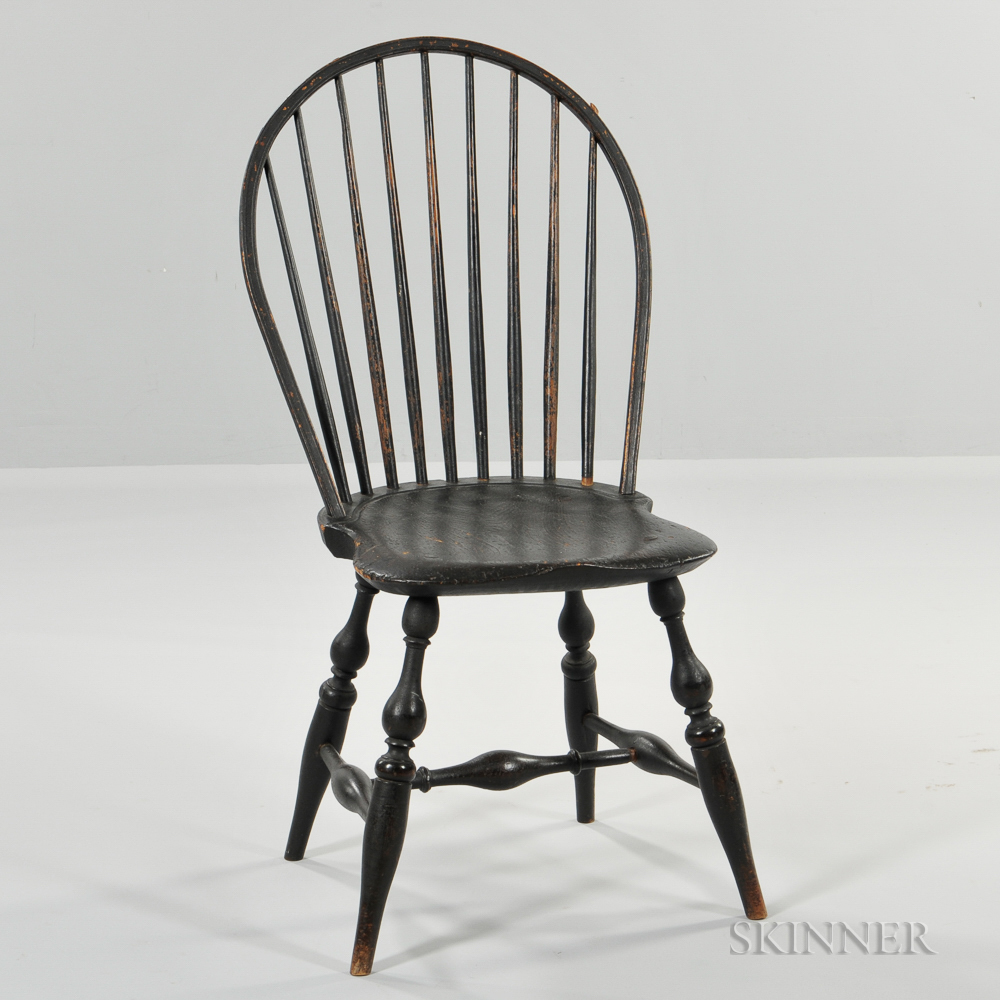 Black-painted Bow-back Windsor Side Chair