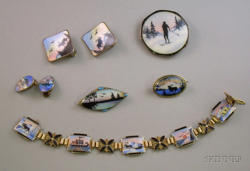 Group of Norwegian Sterling Silver and Enamel Jewelry
