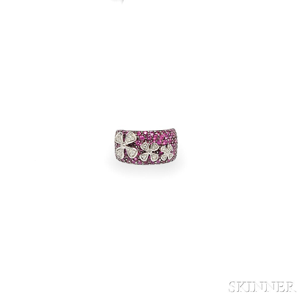 18kt White Gold, Pink Sapphire, and Diamond Ring, Sonia B.
