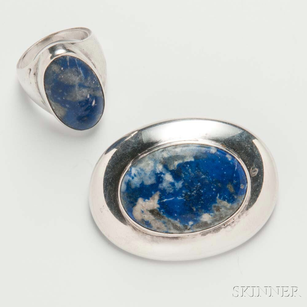 Justa Sterling Silver and Lapis Brooch and Ring