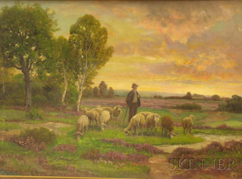 Framed 19th/20th Century Continental School Oil on Canvas Pastoral Scene   of a Shepherd with His Flock