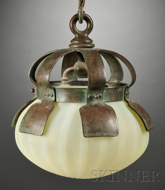 Hanging Fixture with Tiffany Studios Glass Shade