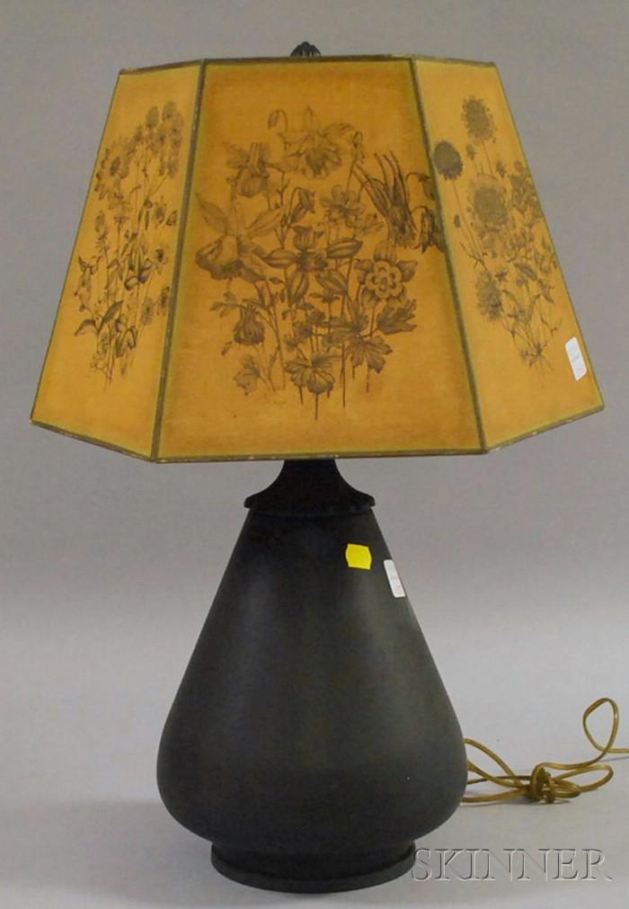Bradley & Hubbard Green-painted Pear-shaped Metal Table Lamp