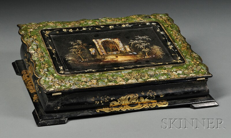 Victorian Mother-of-pearl-inlaid and Lacquered Desk Box