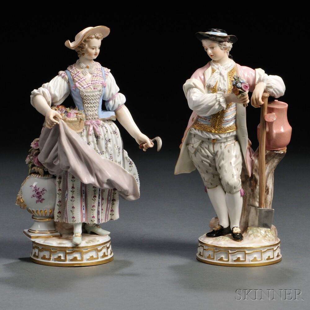 Pair Of Meissen Porcelain Gardener Figures Sale Number