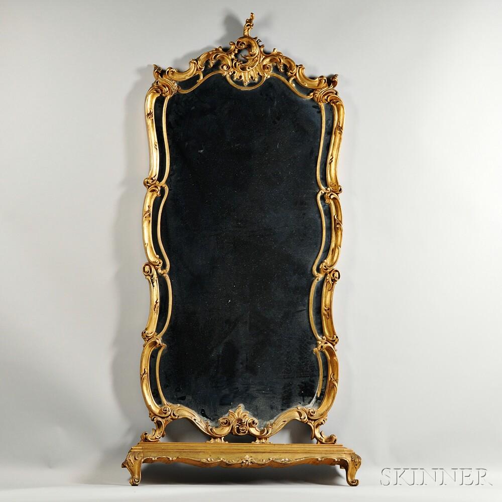 Rococo Revival Gilt-gesso Pier Mirror