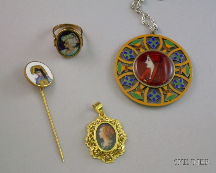 Group of French Enamel Jewelry Depicting Women