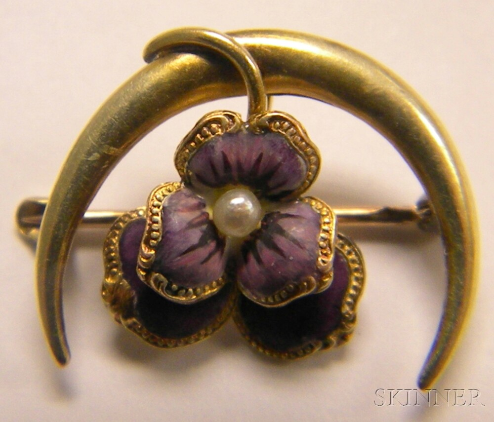 Three 14kt Gold and Purple Enamel Pansy Pins