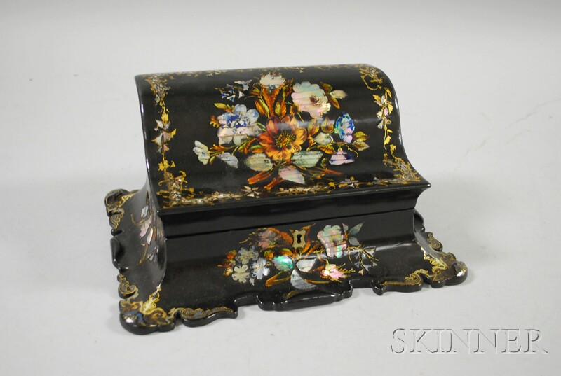 Rococo Revival Gilt and Mother-of-pearl Decorated Black Lacquered Lift-top Desk Box
