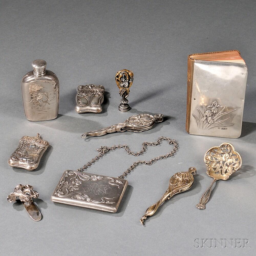 Nine Art Nouveau Silver Accessories