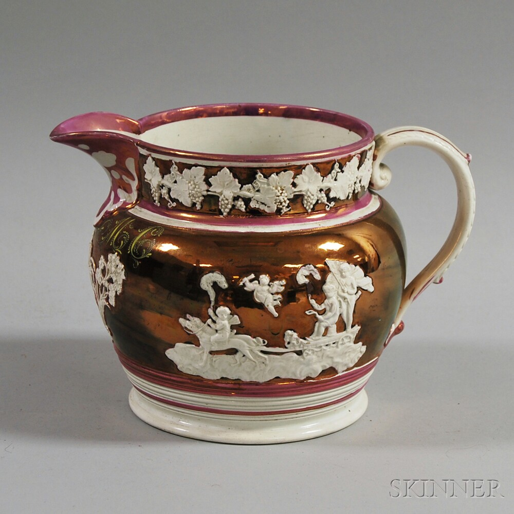 Copper and Pink Lustre Pitcher