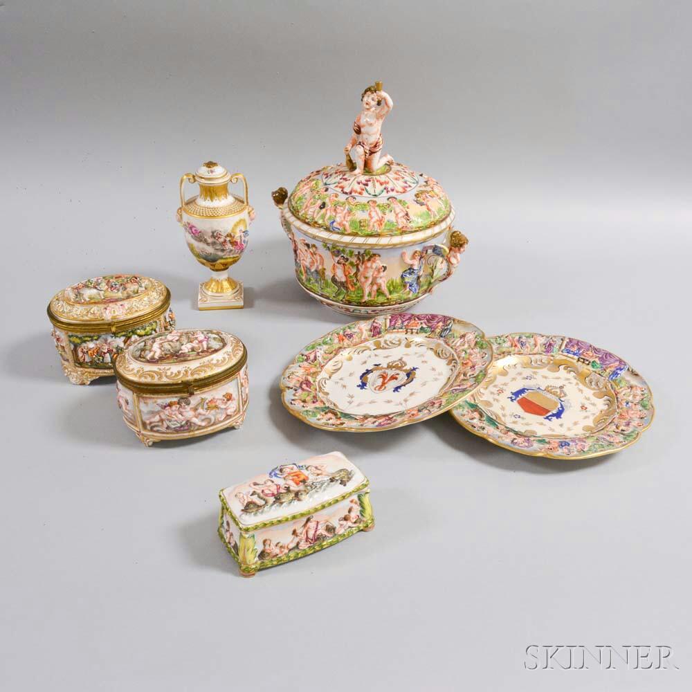 Seven Pieces of Capo di Monte Ceramics