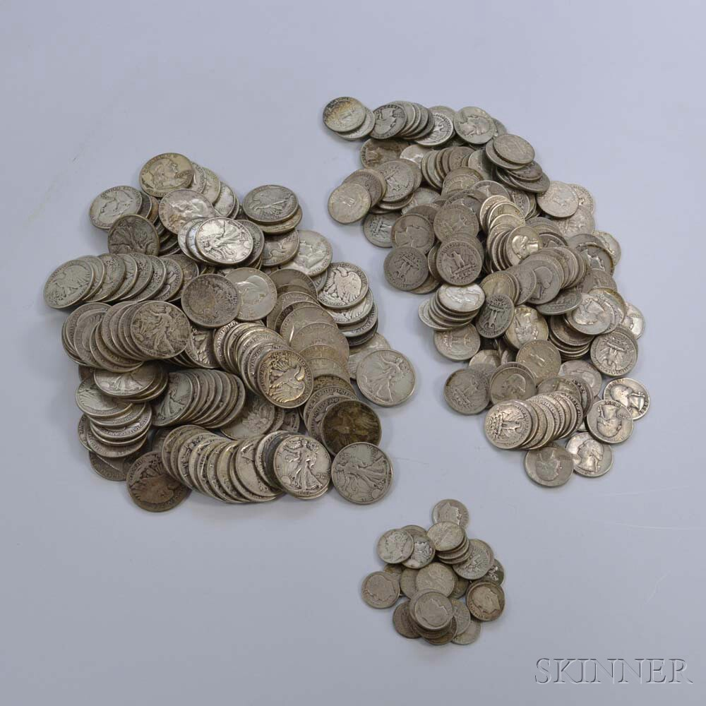 Large Group of Silver Half Dollars, Quarters, and Dimes