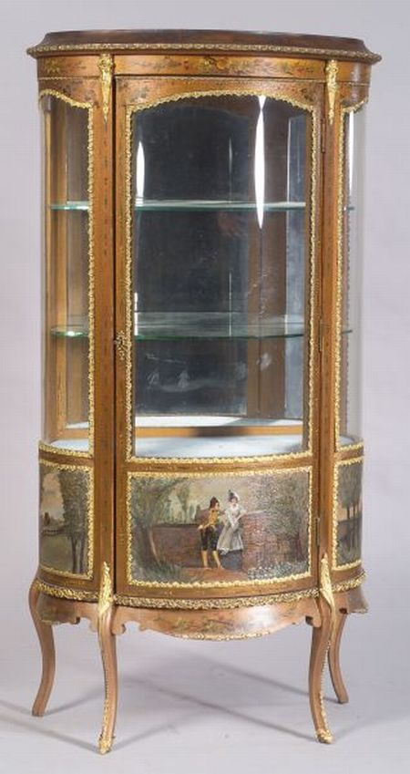 "Louis XV Style Polychrome Painted and Gilt-metal Mounted ""Vernis Martin"" Vitrine"