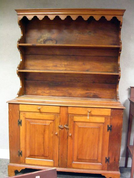 Colonial Revival Pine Two-Part Cupboard.