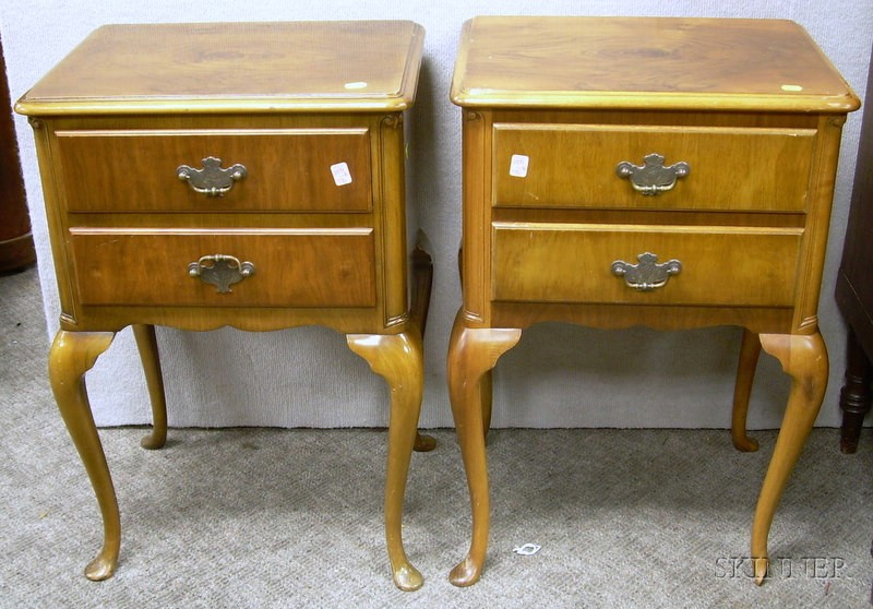 Pair of Queen Anne Style Walnut Veneer Two-Drawer Stands.